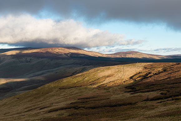 image of The Cheviot and Hedgehope on a late winter's afternoon