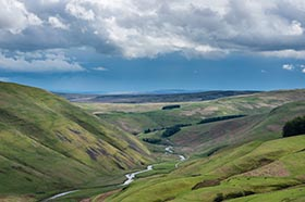 image of Upper Coquetdale from Barrow Law after a rain shower
