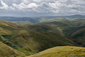 image of Northumberland from the Pennine Way along the border ridge with Scotland on an autumnal showery morning